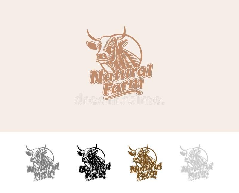 Exploração agrícola natural do logotipo da vaca ilustração do vetor