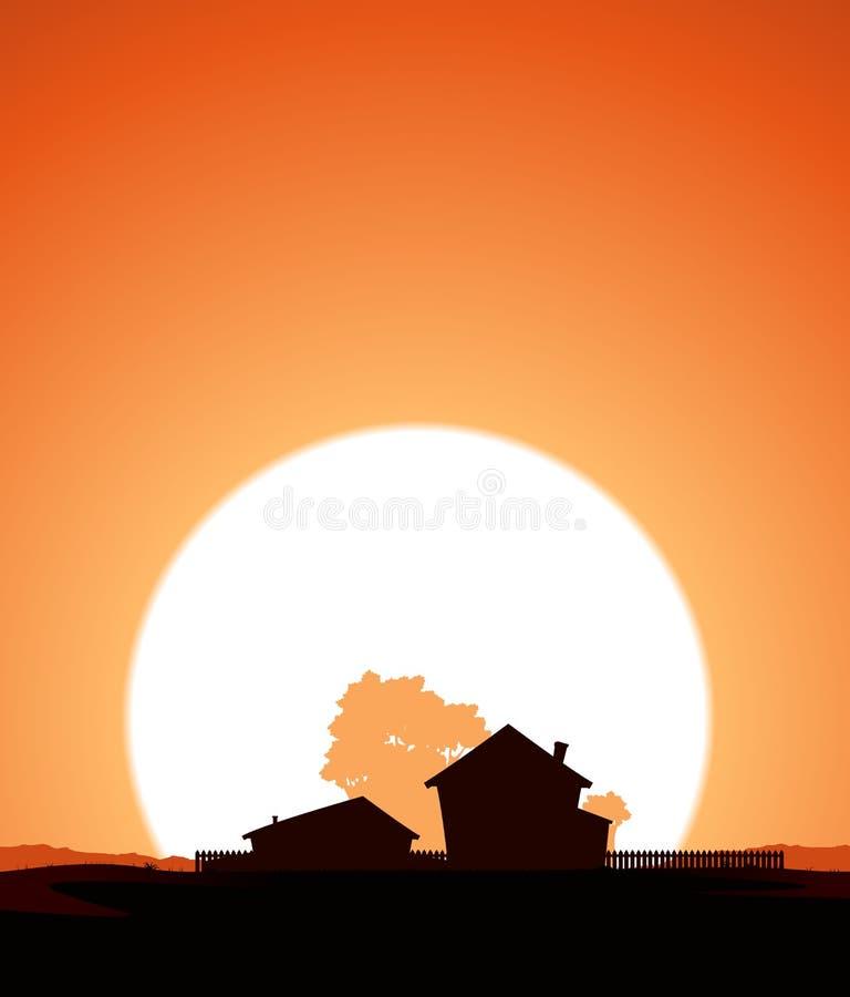Exploração agrícola no por do sol