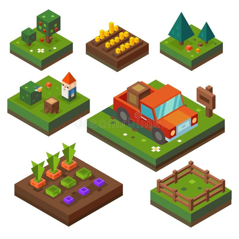 Exploração agrícola, no tempo de colheita ilustração royalty free