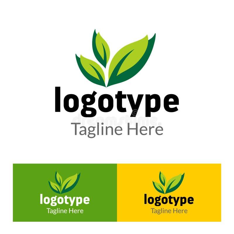 Exploração agrícola orgânica do logotipo abstrato com folha verde ilustração stock