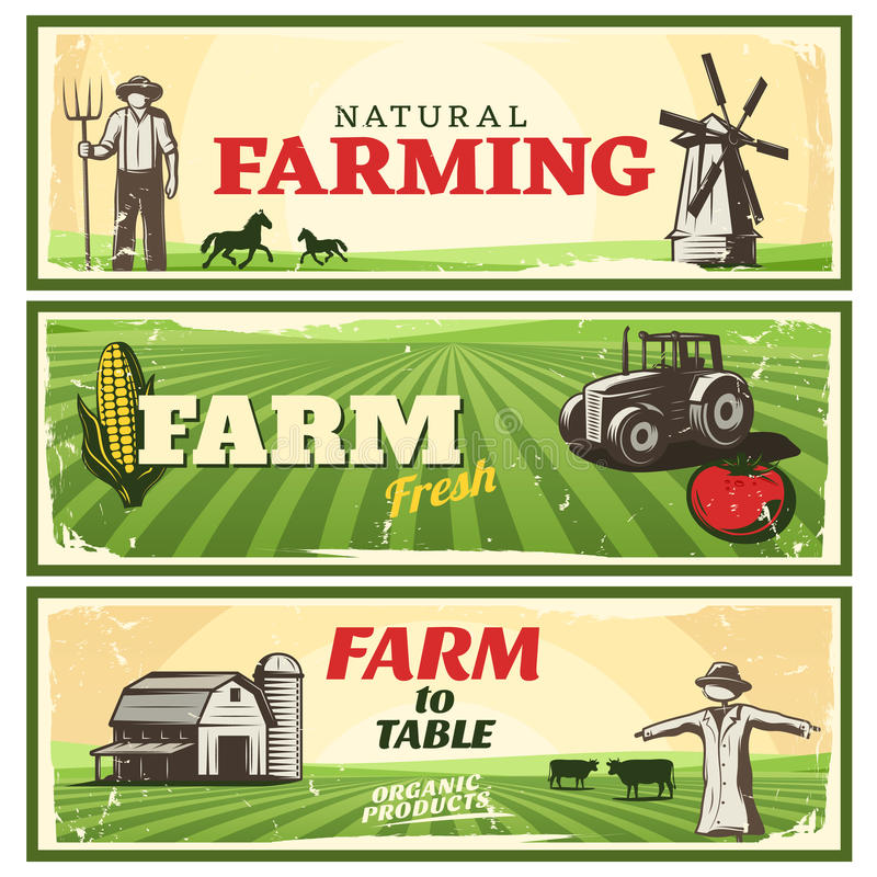 Exploração agrícola para apresentar as bandeiras do conceito ajustadas ilustração stock
