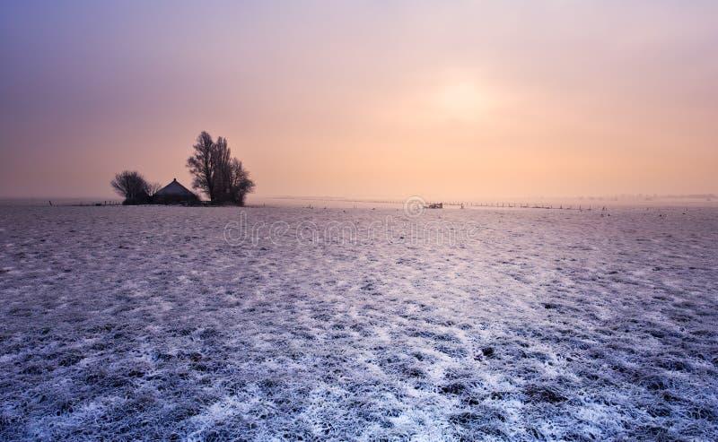 Exploração agrícola pequena no inverno fotografia de stock