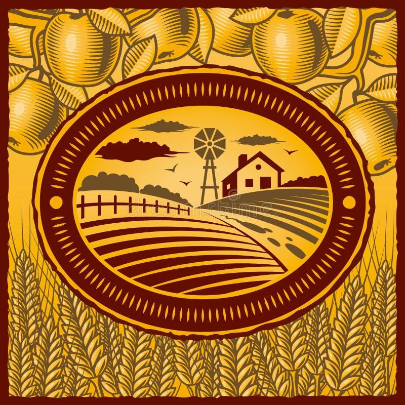 Exploração agrícola retro ilustração royalty free