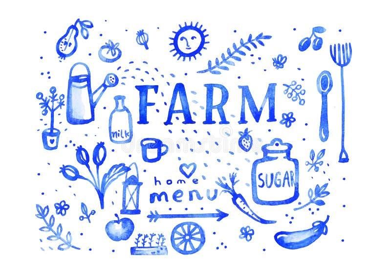 Exploração agrícola - símbolos do menu da aquarela do ultramarine ilustração stock