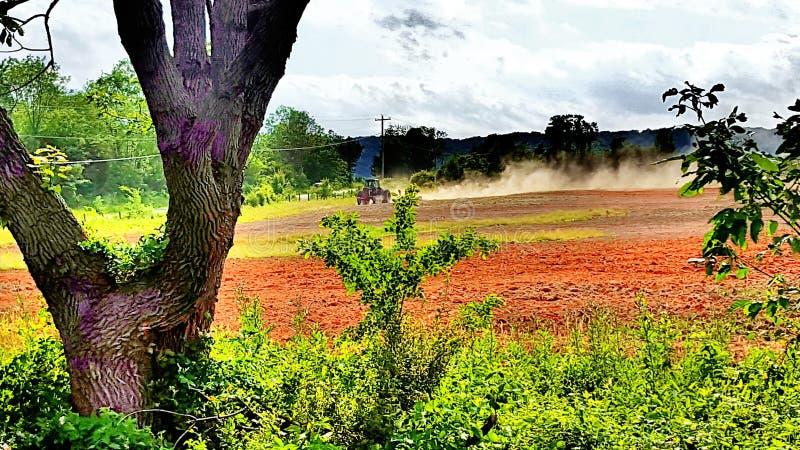 Exploração agrícola Traktor no trabalho imagem de stock