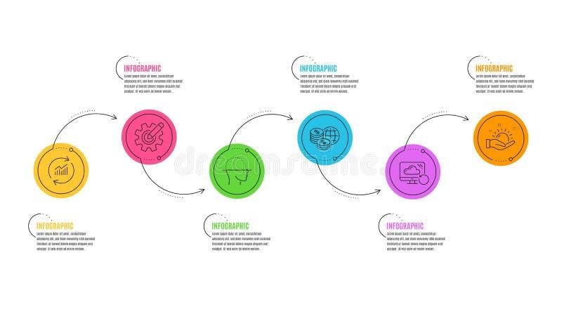 Exploração da cara, dados da atualização e de dinheiro do mundo grupo dos ícones Nuvem da roda denteada, da recuperação e sinais  ilustração royalty free