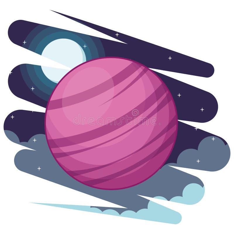 Exploração do espaço e desenhos animados dos planetas ilustração stock