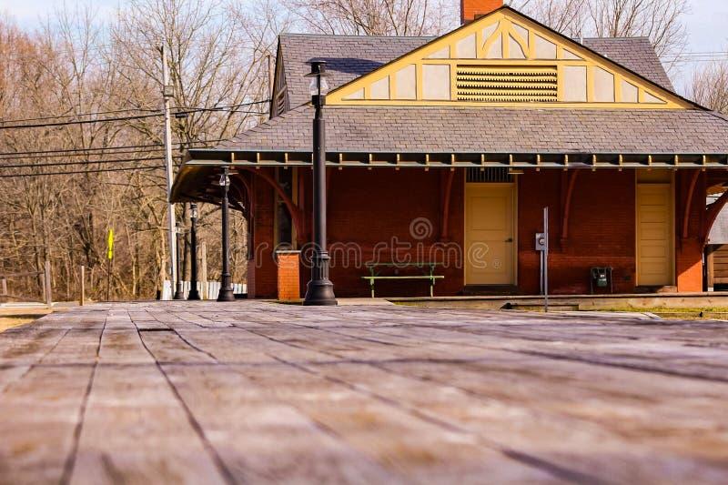 Exploração do estação de caminhos de ferro do abandono nos pinhos foto de stock royalty free