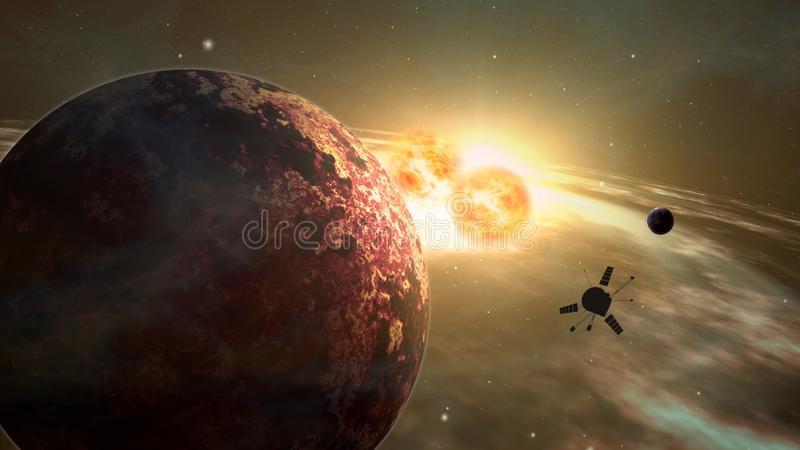 Exploração do exoplanet da ponta de prova de espaço ilustração do vetor