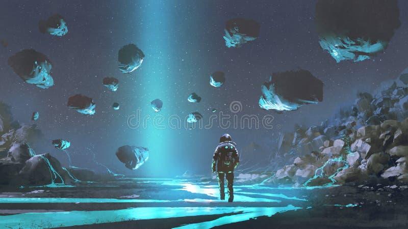 A exploração do planeta de turquesa ilustração royalty free