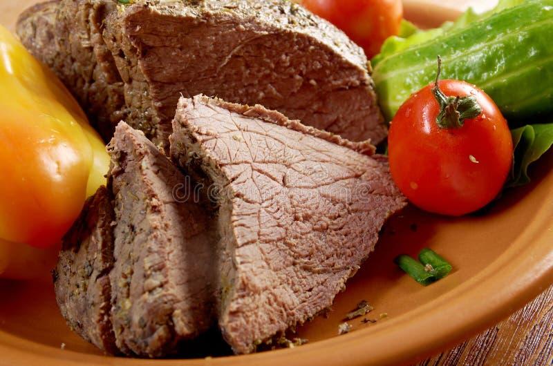 Exploração-estilo raro cortado da carne assada fotografia de stock