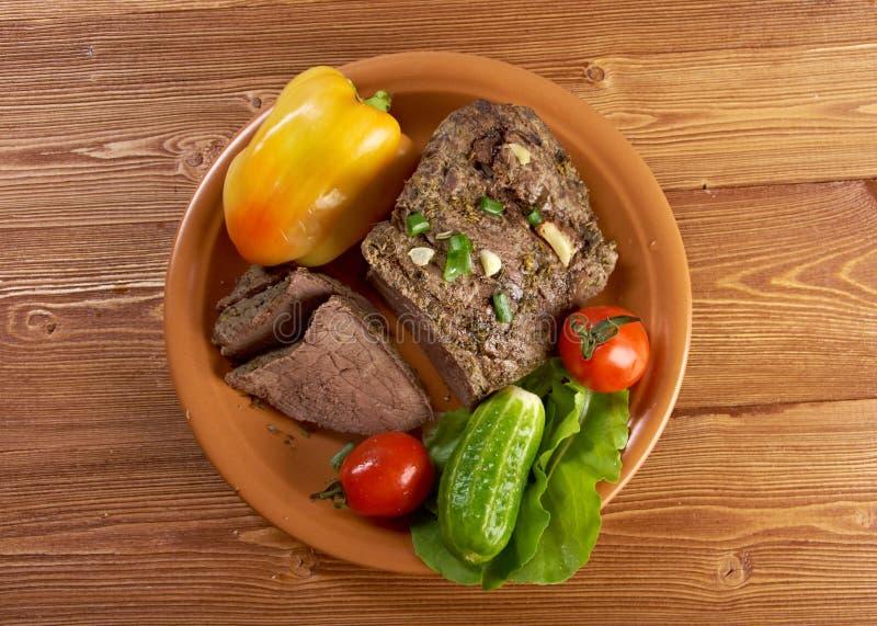 Exploração-estilo raro cortado da carne assada imagem de stock