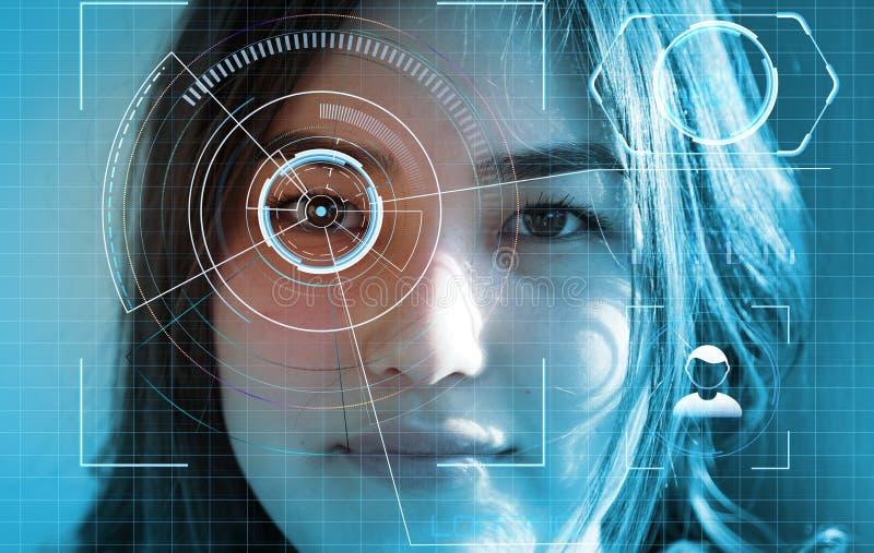 Exploração futurista e tecnologico da cara da mulher bonita para o reconhecimento facial e da pessoa feita a varredura Pode fotos de stock