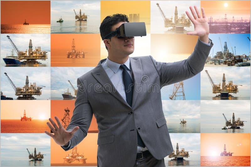Exploração petrolífera em conceito de operações remotas na indústria petrolífera imagens de stock