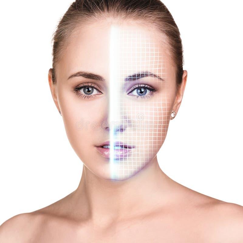 Exploração tecnologico da cara da jovem mulher imagem de stock royalty free