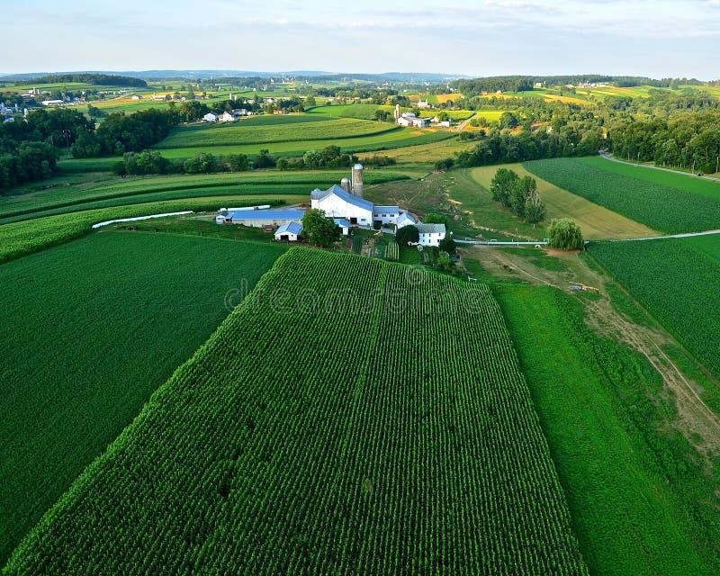 Explorações agrícolas e campos do pa do Condado de Lancaster foto de stock
