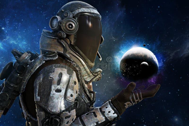Exploración, astronautas futuristas de A del concepto de la galaxia fotos de archivo