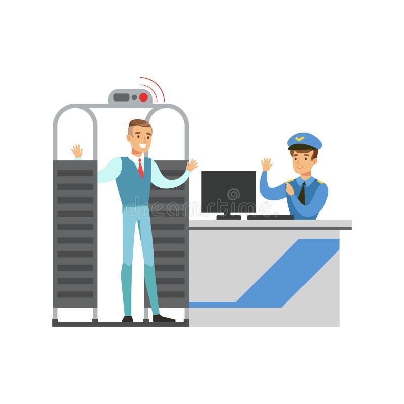 Exploración completa del cuerpo en control de seguridad, parte del aeropuerto y serie relacionada de las escenas del transporte a ilustración del vector