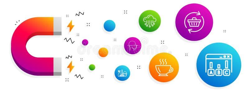 Exploración de la cara, servicio del hogar y sistema de los iconos del café Restaure el carro, el almacenamiento de la nube y las ilustración del vector