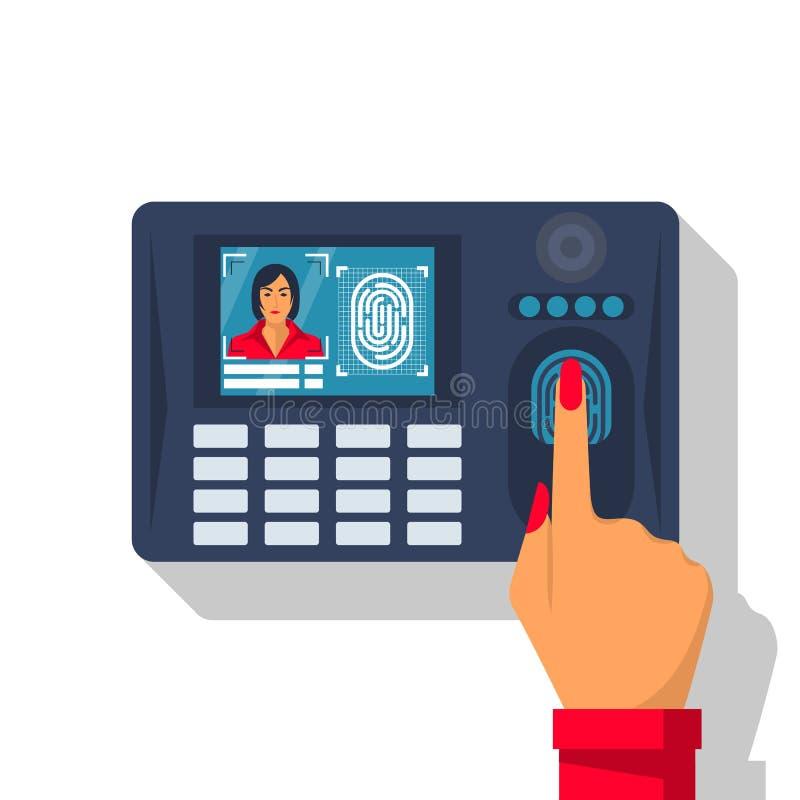 Exploración de la huella dactilar Autorización en sistema de seguridad stock de ilustración