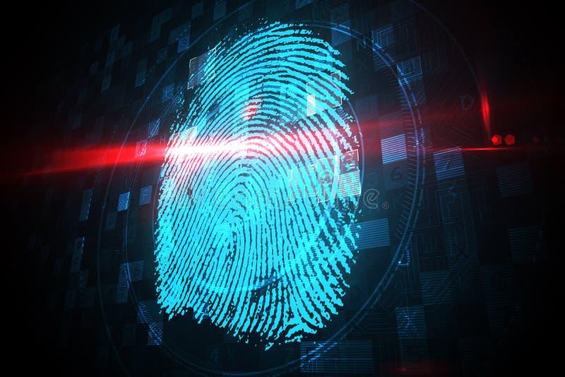 Exploración de la huella dactilar de la seguridad de Digitaces ilustración del vector