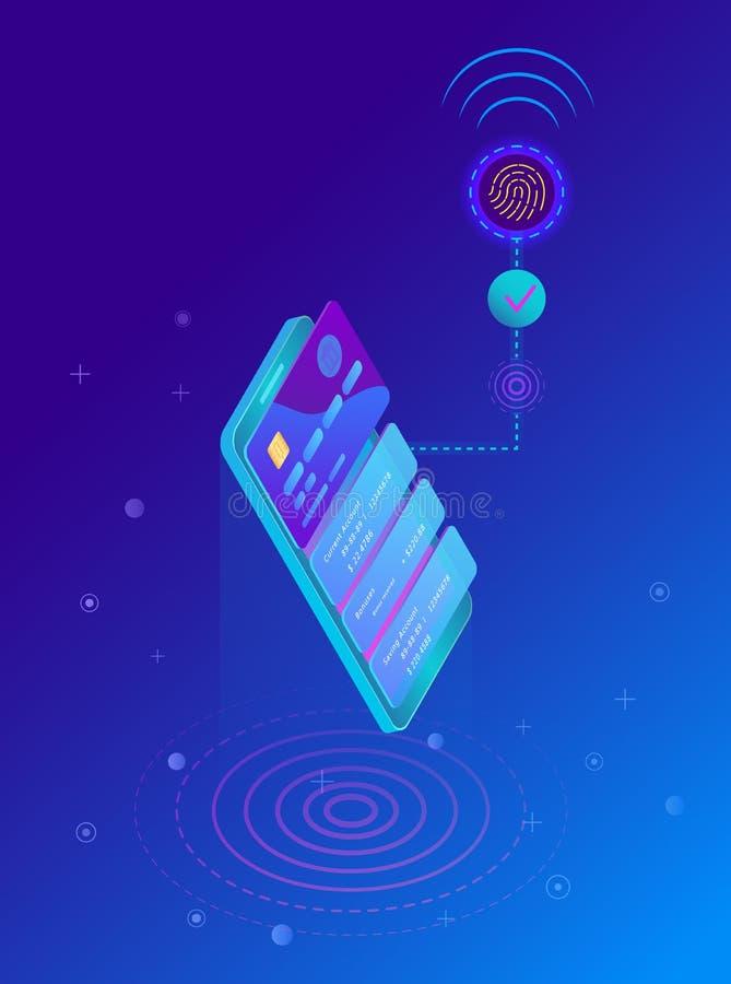 Exploración de la huella dactilar, diseño de sistemas biométrico de la identificación stock de ilustración