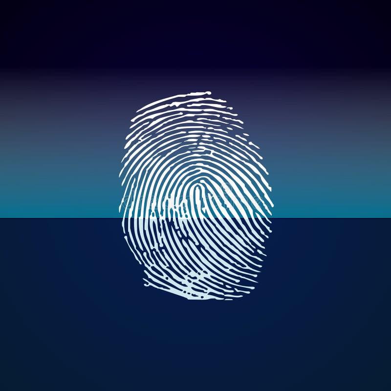 Exploración de la huella dactilar en fondo azul Vector stock de ilustración