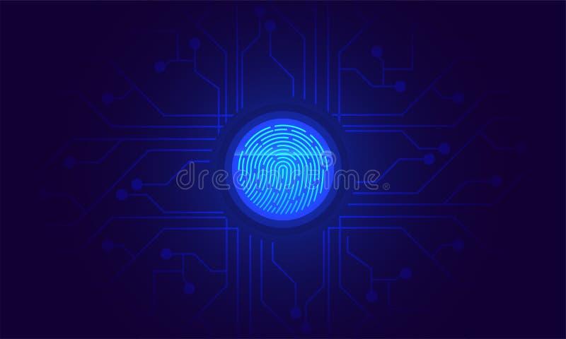 Exploración de la huella dactilar, identidad biométrica y aprobación Futuro del sec ilustración del vector