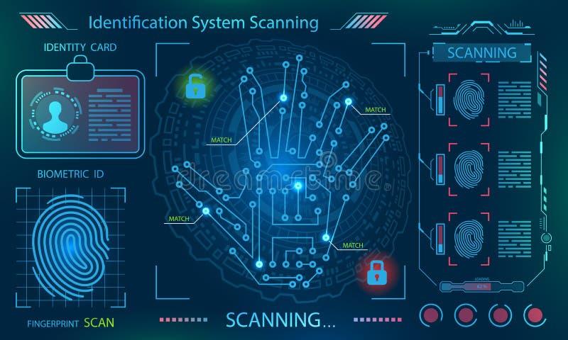 Exploración de la mano, impresión de Handprint, huella dactilar en el tema tecnológico, estilo futurista stock de ilustración