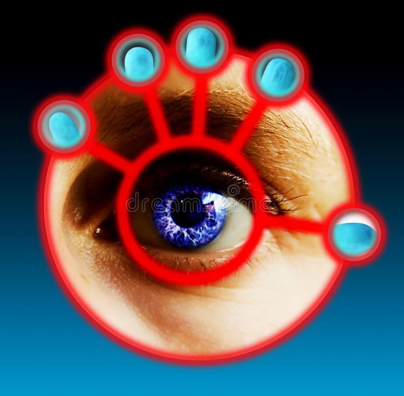 Exploración del dedo y del ojo foto de archivo libre de regalías