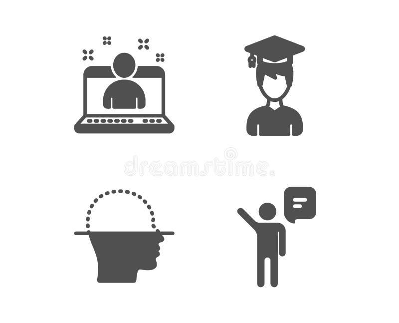 Exploración del estudiante, de la cara y los mejores iconos del encargado Muestra del agente El casquillo de la graduación, hace  ilustración del vector