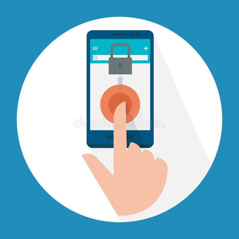 Exploración del finger en la pantalla móvil libre illustration