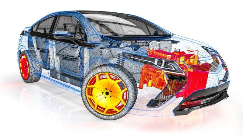Exploración del motor en un coche del marco del alambre stock de ilustración
