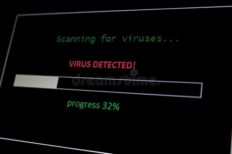 Exploración para el virus, virus detectado foto de archivo libre de regalías