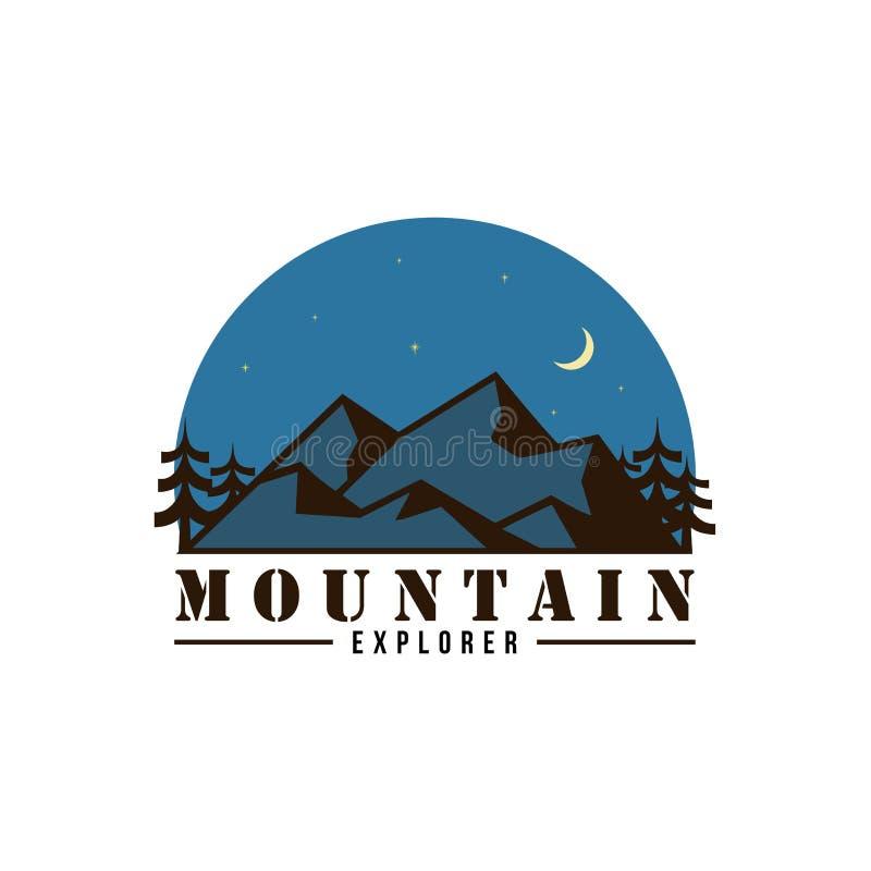 Explorador Adventure da montanha no logotipo da noite, sinal, projeto liso do vetor do crachá ilustração royalty free