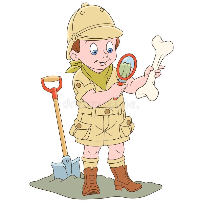 Explorador arqueológico de la historieta con el hueso fósil stock de ilustración