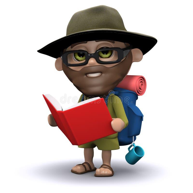 explorador 3d que lee un libro stock de ilustración
