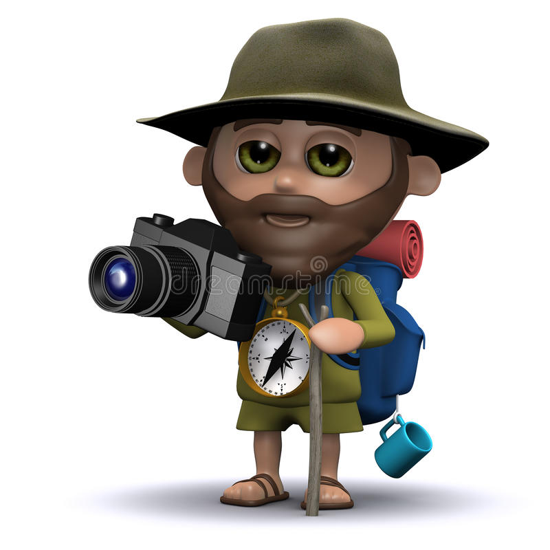 explorador 3d que toma imágenes con su cámara stock de ilustración