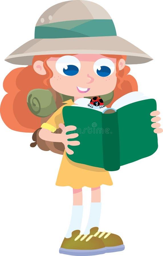 Explorador da menina com joaninha e livro ilustração do vetor