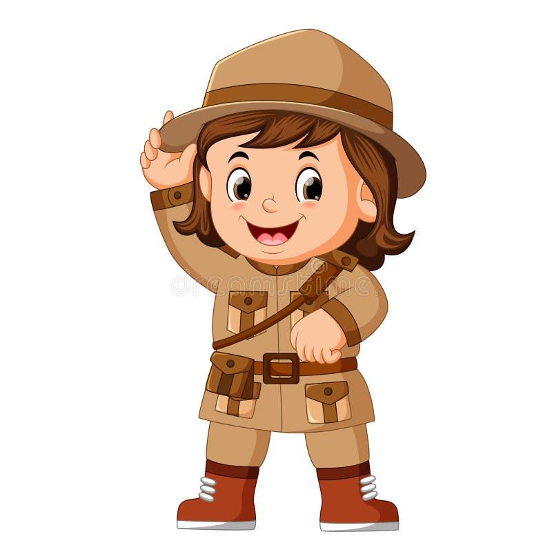 Explorador de niña de la historieta stock de ilustración