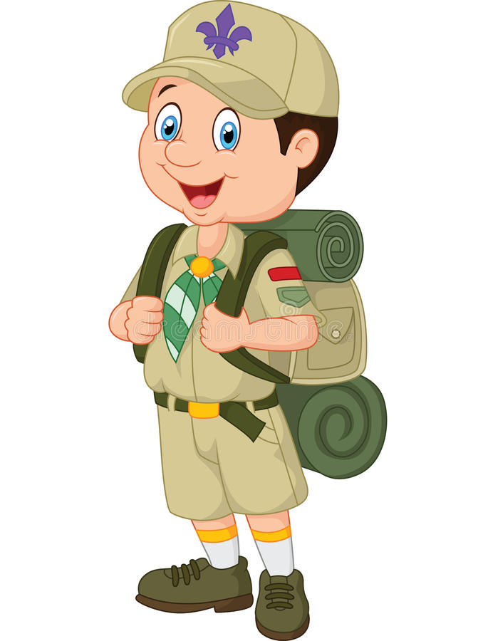 Explorador de niño pequeño de la historieta ilustración del vector