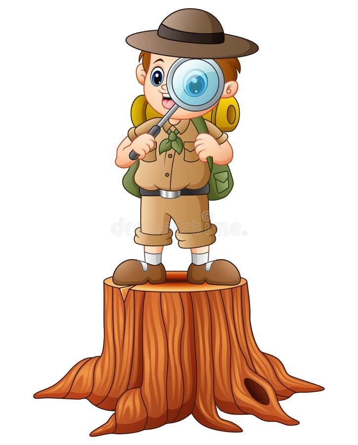 Explorador del muchacho con la lupa en tocón de árbol stock de ilustración