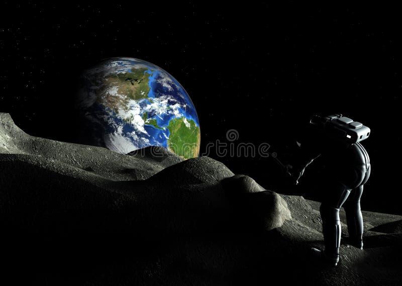 Explorador Digging Moon Rock do astronauta ilustração royalty free