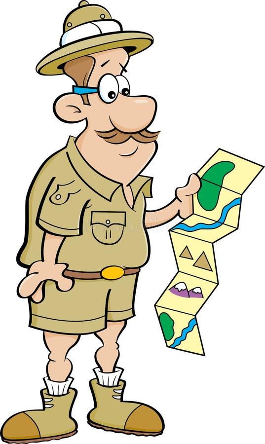 Explorador dos desenhos animados que olha um mapa ilustração do vetor
