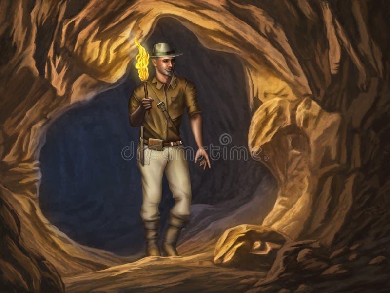 Explorador em uma caverna ilustração do vetor