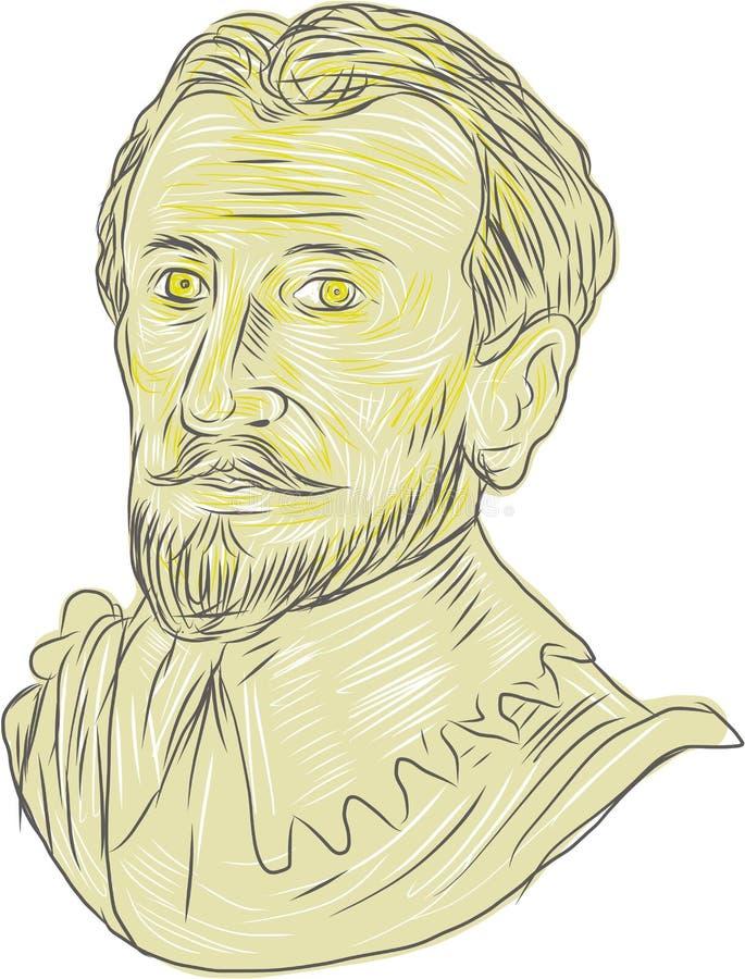 Explorador espanhol do século XV Bust Drawing ilustração royalty free