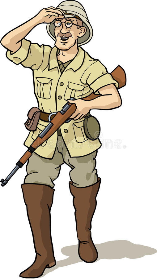 Explorador y cazador stock de ilustración
