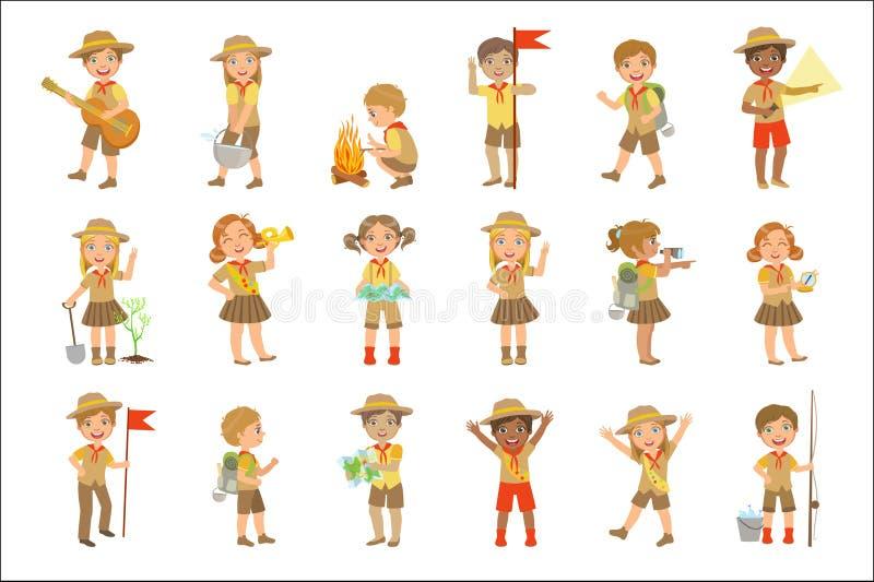 Exploradores de los niños que caminan el sistema ilustración del vector