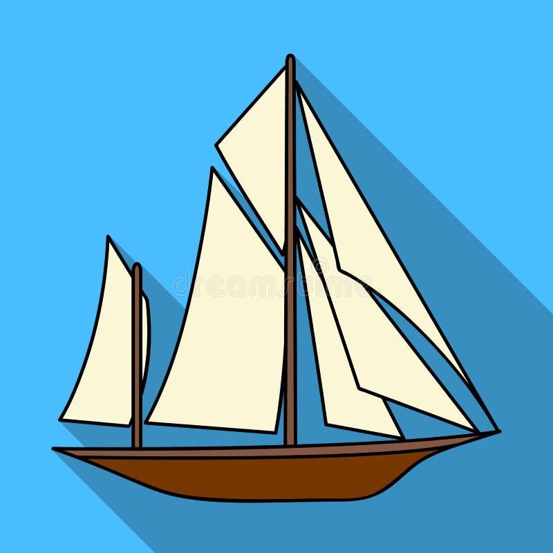 Exploradores del barco del vintage Velero en el cual la gente antigua viajó alrededor de la tierra Icono del transporte de la nav stock de ilustración