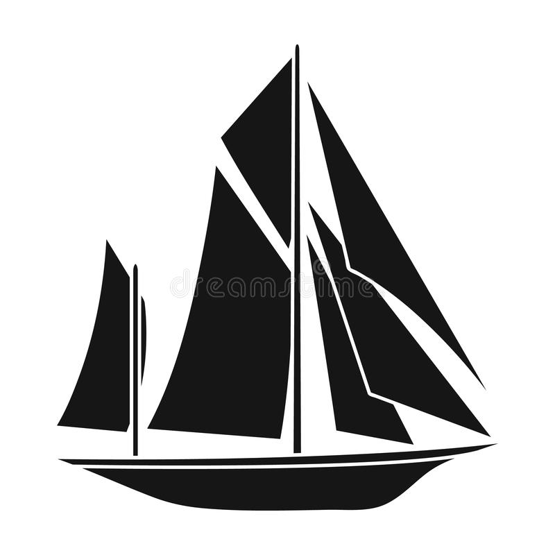Exploradores do barco do vintage Veleiro em que os povos antigos viajaram em torno da terra Ícone do transporte do navio e da águ ilustração do vetor